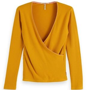 NWT Scotch & Soda Yellow Ribbed Crossover Top S